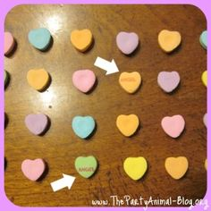 Minute to win it ideas and games with conversation hearts- great for class Valentine's Day party :)