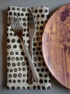 block printed linen napkins set of four black by juliepeach