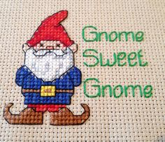 Cross stitch gnome - Gnomo en punto de cruz