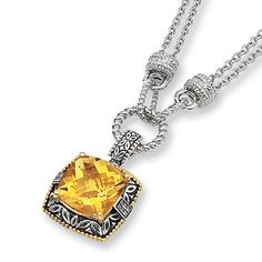 1/20 CT Diamond and 10.5 CT Citrine Necklace 18in for $374.97