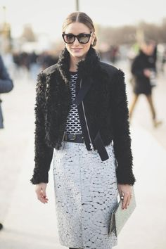 {style inspiration : olivia palermo at fashion week 2014} street fashion, paris fashion, fashion weeks, fall fashions, casual outfit, street styles, white lace, olivia palermo, street chic