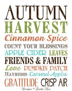 Subway Printable Word Art for Autumn