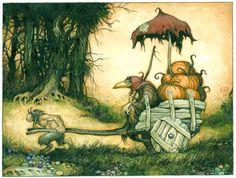 december, artists, fantasi, illustrations, pumpkins, fairi, artwork, pumpkin dealer, larri macdougal