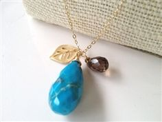 Turquoise with Smoky Quartz and Gold Leaf