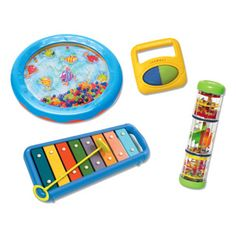 $49.99 - Musical toys specially designed to lead babies from the first discovery of noise and sounds into the creative world of music. 4 piece set includes: baby xylophone, rattle roller, mini wave drum and spinner mini rainbow maker. All EduMusic products are manufactured using the same materials and toning methods used for professional musical instruments. DIMENSIONS: 12 x 2.5 x 9