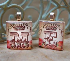 "Vintage monogram scrabble tile pendants from our set ""Vintage Crown Alphabet"" - Mango and Lime Design"