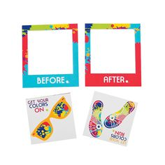 Summer is coming and that means color runs! Get these before and after  magnets as a fun way to remember the race. - OrientalTrading.com
