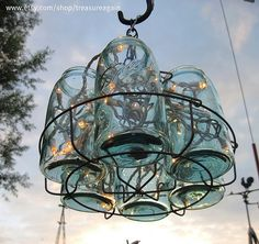 Blue Mason jar chandelier