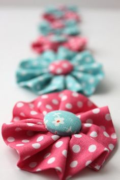 fabric hair bows (I like them but much smaller than she made in the tutorial!)