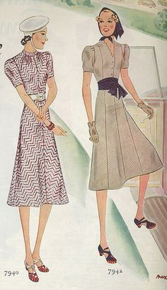 Love the matching polka dot headscarf and sash of the outfit on the right. #vintage #1930s #dress #fashion #hat #gloves