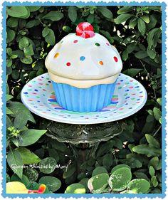 Polka Dot Cupcake Garden Totem Stake  As by GardenWhimsiesByMary, $38.00