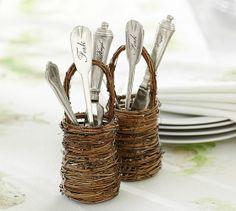 Love these! Mini Twig Flatware Basket | Pottery Barn