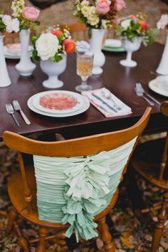 Ombre mint ribbon chair decor wedding DIY decoration . Photography by Brooke Roberts Photography / brookerobertsphotography.com, Floral Design by English Gardens / englishgardensdesigns.com/