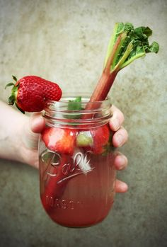strawberry and rhubarb mojito and simple syrup.