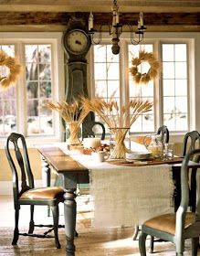 dining rooms, table settings, country casual, clock, farm tables, french country, swedish style, thanksgiving table, holiday decorating