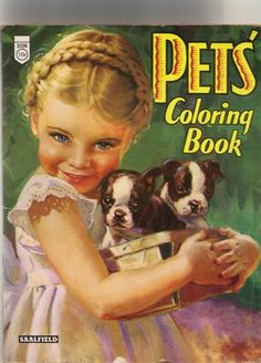 Boston Terrier puppies on a vintage coloring book by PaperedFair. #BostonTerrier