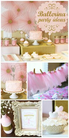 A pink and gold Ballerina girl birthday party with an adorable tutu garland and paper medallion backdrop!  See more party ideas at CatchMyParty.com!