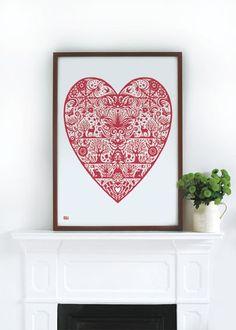 My Heart in Duck Egg Blue  decorative screen print by boldandnoble, $69.00