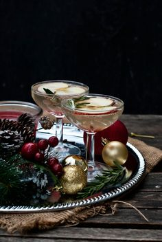 Christmas: Glamour and traditional/karen cox...spiced apple-rosemary sparkler