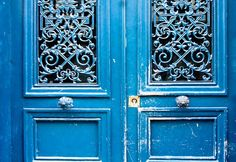 Blue Doors in Paris, France 8x10 Photograph - French Decor. $30.00, via Etsy.