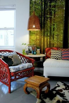 Painted Rattan and Wicker Furniture