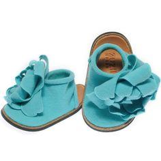 Joli Petal Baby Shoe Aqua by ZUZII on Etsy, via Etsy.