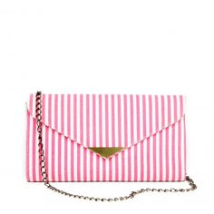 Cute Striped Canvas Clutch from Sole Society