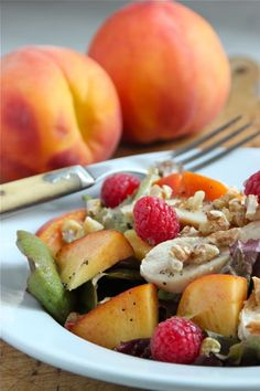 Chicken Salad with Peaches, Raspberries, and Walnuts