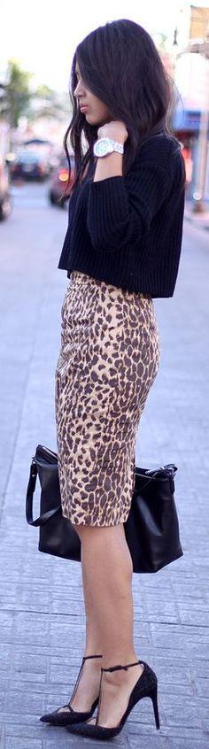 Leopard Pencil Skirt by Brunette Braid - I love this skirt!