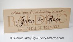 Personalized Wedding Established Sign Painted Custom Sign Plaque with quote. $35.00, via Etsy.