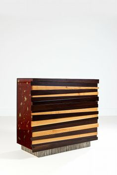 Annibale Oste; Wood, Nickeled Bronze, Resin, and Glass 'Mobilenergy K 6' Chest of Drawers, 2003.