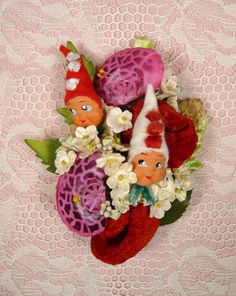 Christmas Corsage Vintage Rare Clay Face Elves by meaicp on Etsy, $40.00