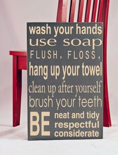 Bathroom Rules Subway Art Typography Word Art Handpainted Wooden Sign - Your Choice of Color. $50.00, via Etsy.
