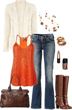chicago outfit, autumn outfits, fun fall, fall fashions, orange top outfit, fall polyvore outfits, orange outfit, brown boots, polyvore fall outfits