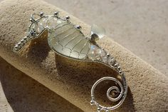 WHITE seahorse wire wrapped seaglass pendant by palmeras on Etsy,