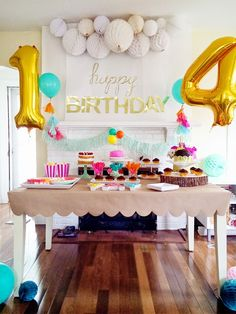 A colorful birthday party table