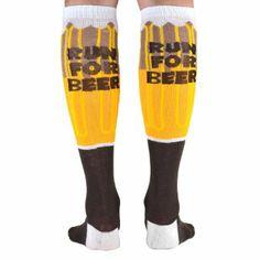 Amazon.com: Yakety Yak! Knee Socks - Will Run For Beer (Amber/Brown/White): Clothing