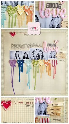 love the rainbow of hearts.  layout by wilna.