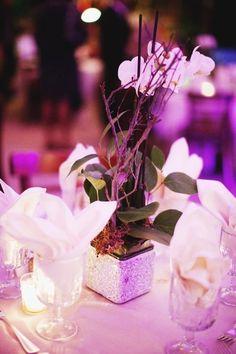 Centro de mesa con orquídeas