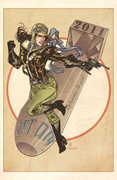 Matthew Clark Bomber Girl art from Jet City Comic Show 2011.