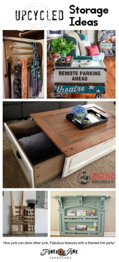 130 Upcycled storage ideas - features and a themed link up via FunkyJunkInteriors.net