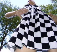 Checker Flag Dress Black White Checked Nascar Race by avantegarb, $40.00