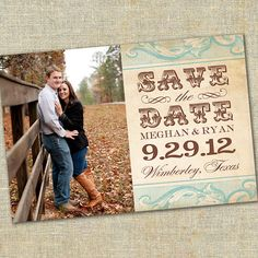 Vintage Photo Save The Date Post Card by paperandlaceaustin