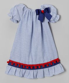 Look what I found on #zulily! Blue Pom-Pom Peasant Dress - Infant & Toddler by Caught Ya Lookin' #zulilyfinds