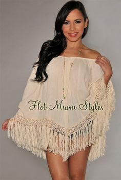 Cream Off-The-Shoulder Fringe Poncho Top. $44.99