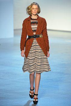 Rodarte, Fall 2012 #nyfw #striped #dress #orange #cardigan