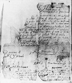 1638 Deed signed by Roger Williams and sachems of the Narragansett Indian tribe.