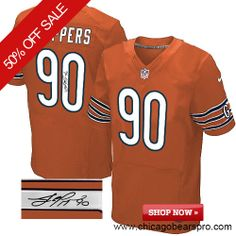 $129.99 Men's Nike Chicago Bears #90 Julius Peppers Elite Orange NFL Alternate Autographed Jersey