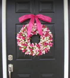 Valentine's Day Wreath, Mini Tulip Wreath with Bow, Valentine's Day Decor- Valentine Decoration. $80.00, via Etsy. 18""