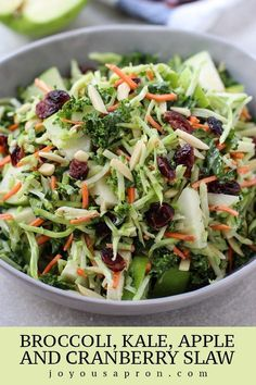 Salad Broccoli, Kale, Apple and Cranberry Slaw - The perfect light and healthy veggie side to your Thanksgiving or Christmas holiday meal, or dinner any day! No cook and super easy, this slaw has a festive twist and is full of great flavors and textures! #slaw #broccoli #kale #apples #cranberry #thanksgiving #Christmas #holiday #side #recipe #joyousapron